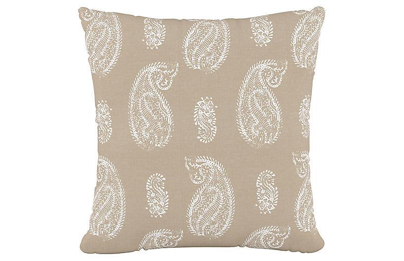Paisley Cotton Pillow, Paisley Tan