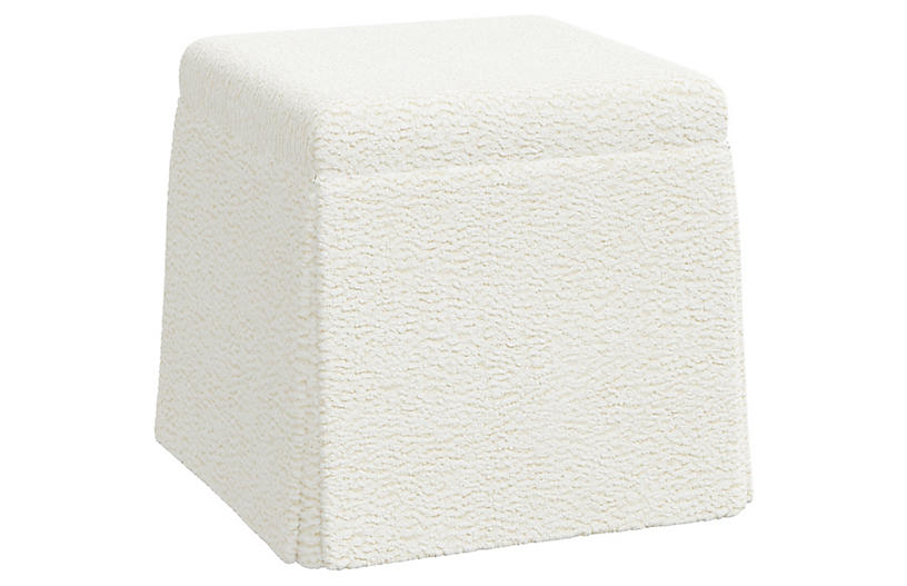 Anne Skirted Ottoman, Sheepskin Ivory