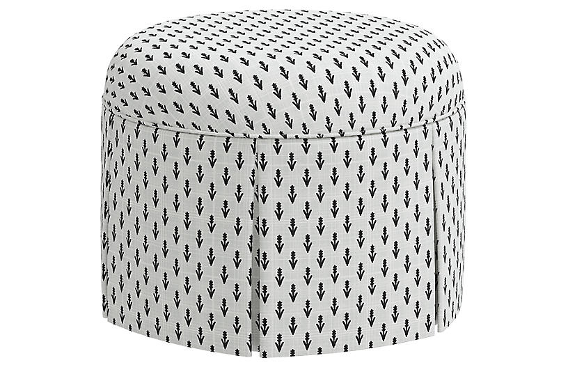 Liza Skirted Ottoman, Floral Ink