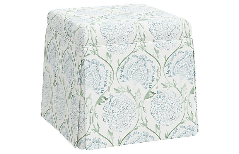 Anne Skirted Ottoman, Ranjit Floral