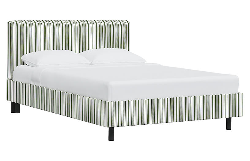 Novak Bed, Finn Stripe Moss