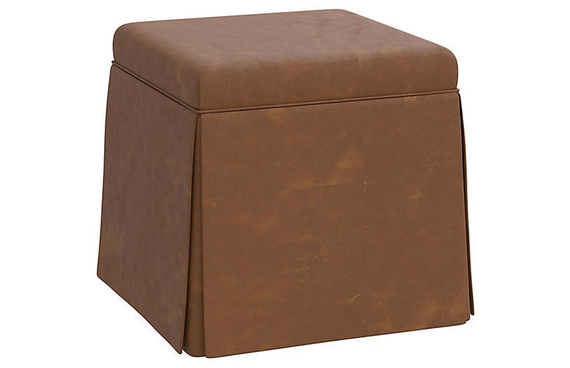 Anne Faux Leather Skirted Ottoman