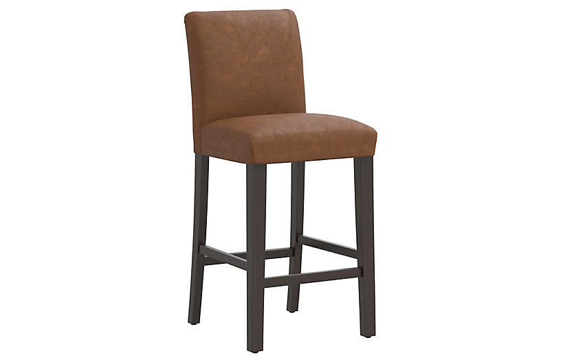 Shannon Faux-Leather Barstool, Saddle Brown