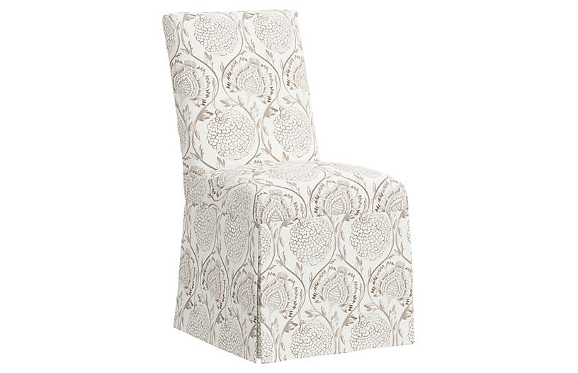 Owen Slipcover Side Chair, Ranjit Floral Brown