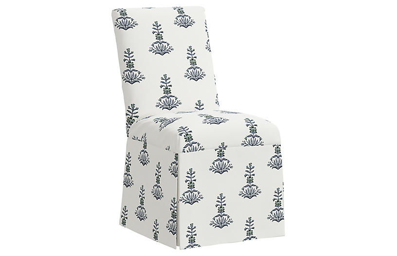Owen Slipcover Side Chair, Lila Block Print
