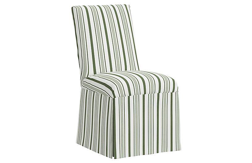Owen Slipcover Side Chair, Luli Stripe