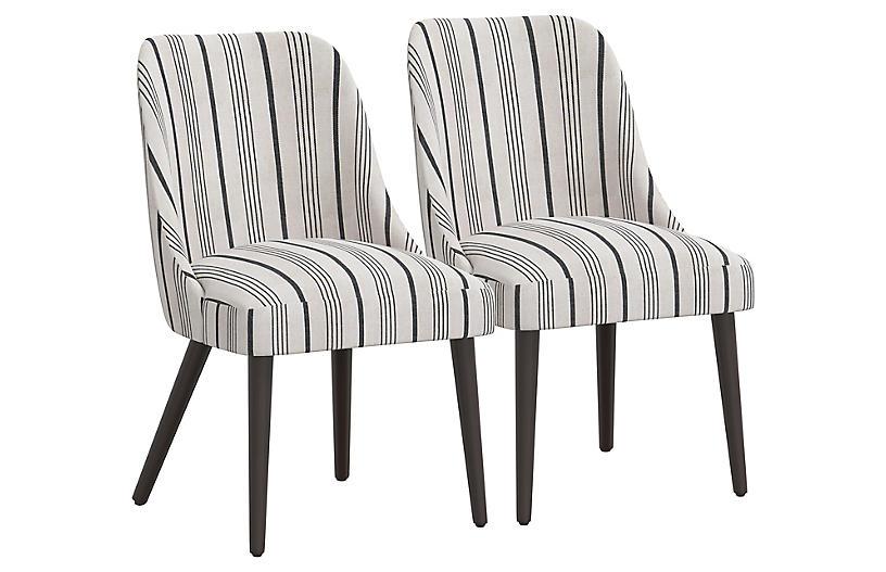 S/2 Barron Side Chairs, Graphite Stripe