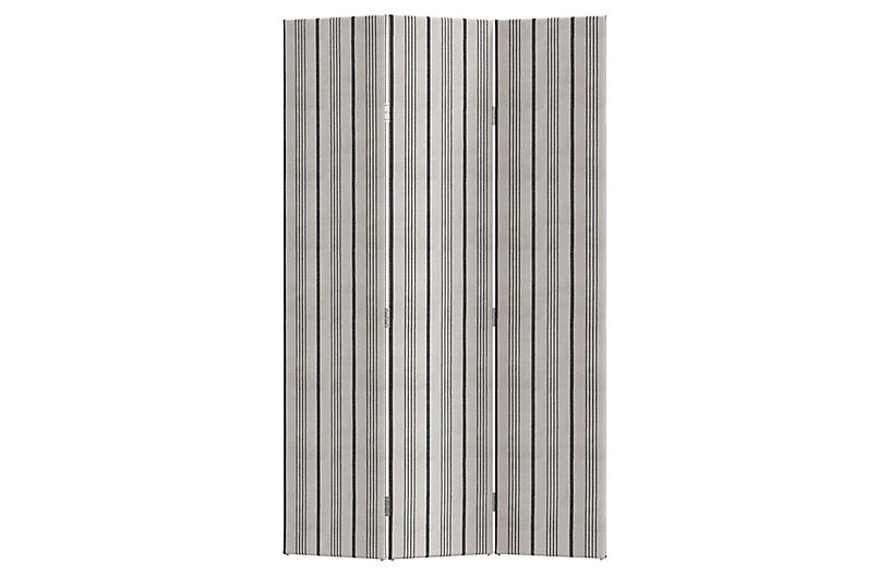 Melina Room Screen, Graphite Stripe