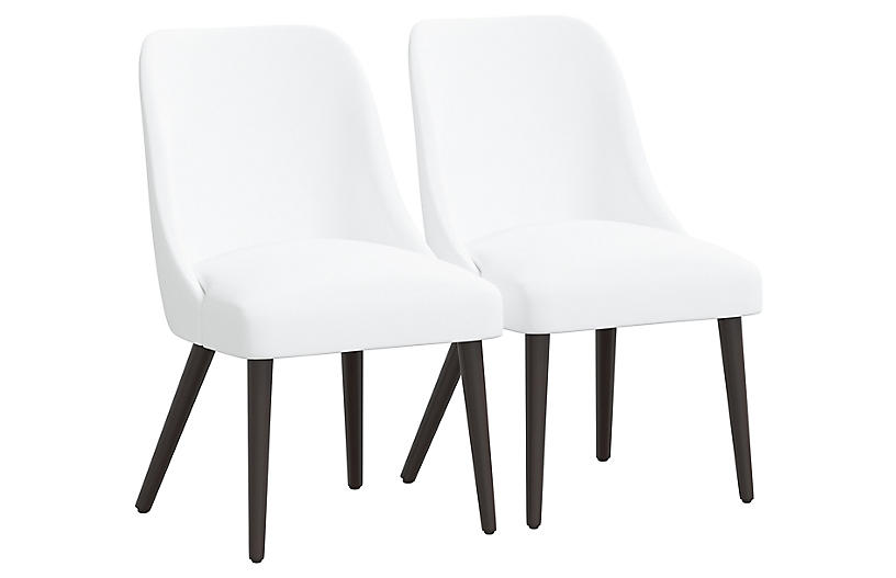 S/2 Barron Side Chairs, White
