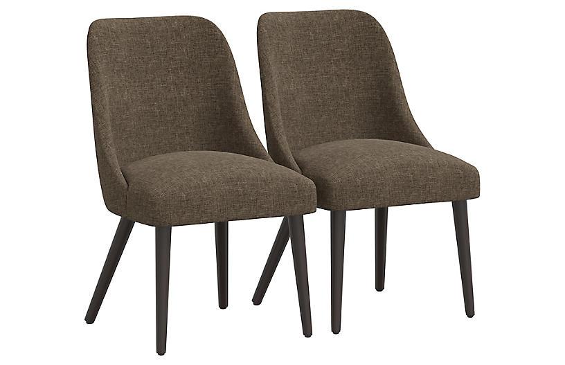 S/2 Barron Side Chairs, Chocolate