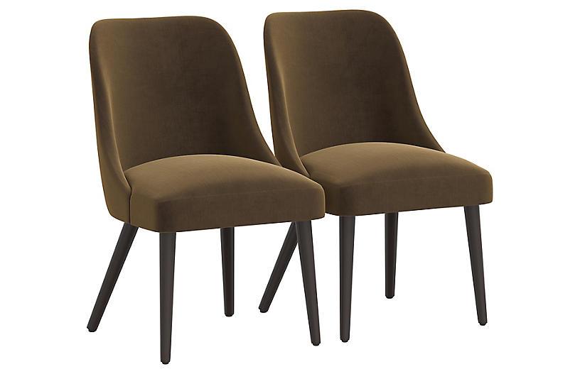 S/2 Barron Side Chairs, Walnut