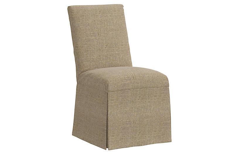 Owen Slipcover Side Chair, Sandstone Linen