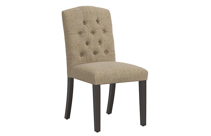 Lea Tufted Side Chair, Sandstone Linen