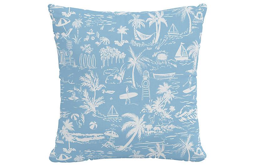 Beach Toile Pillow, Blue Linen