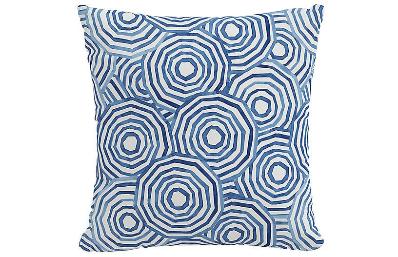 Umbrella Swirl Outdoor Pillow, Navy