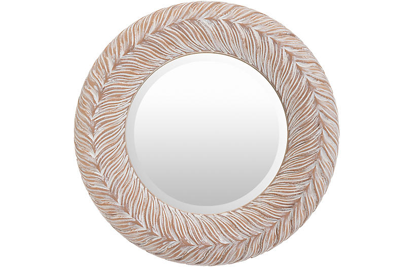 Ramona Wall Mirror, Whitewashed