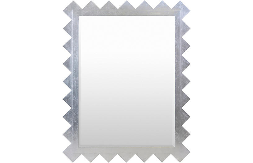 Hailey Deco Oversized 45x58 Mirror, Silver