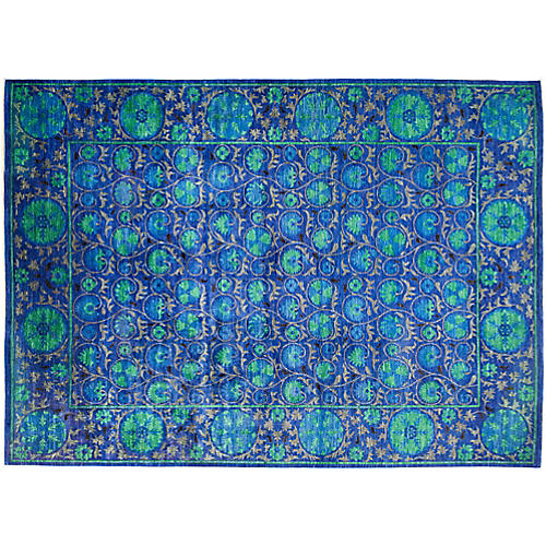 "10'4""x14'2"" Suzani Rug, Blue/Green"