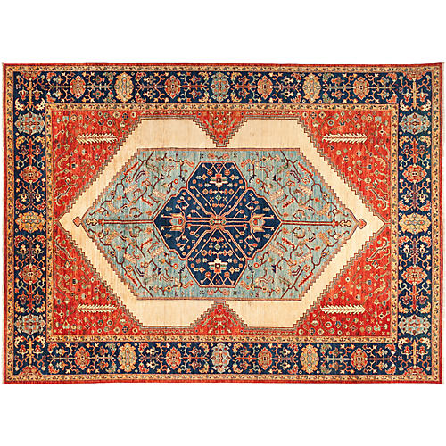 "9'1""x12'6"" Serapi Rug, Red/Bone"
