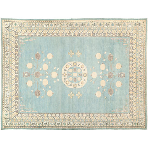 "9'x11'9"" Khotan Rug, Light Blue"