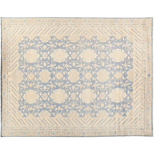 "8'9""x11'2"" Oushak Rug, Blue/Bone"