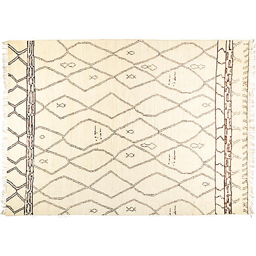 "9'10""x13'10"" Rabat Rug, Cream/Black"