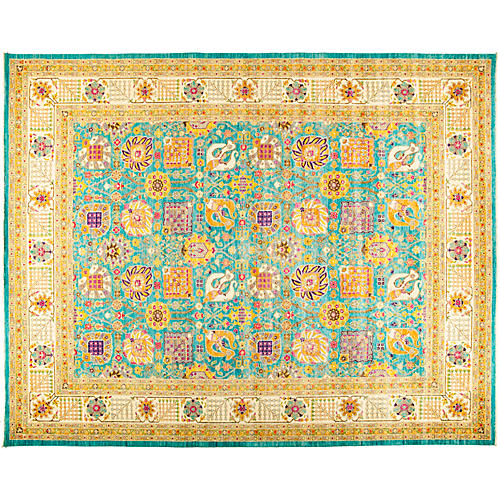 "11'10""x14'10"" Eclectic Rug, Yellow/Teal"