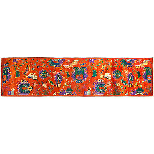 "2'6""x9'8"" Eclectic Runner, Orange"