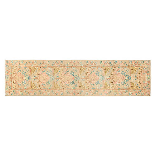 2'x10' Gingko Hand-Knotted Runner, Ivory/Rose