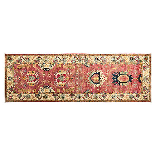 """3'10""""x9'10"""" Frona Hand-Knotted Runner, Pink/Multi"""