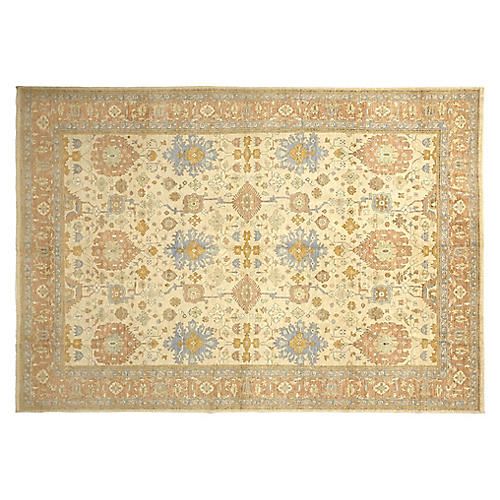 """9'3""""x14'3"""" Parris Hand-Knotted Rug, Beige/Multi"""