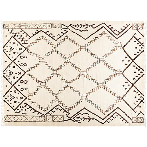 "9'x11'10"" Moroccan Rug, Ivory"