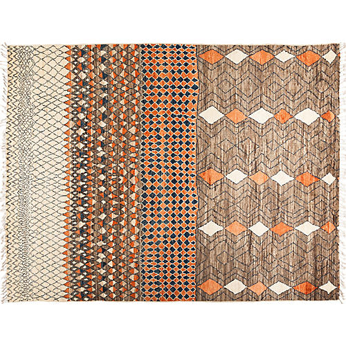 "9'1""x11'10"" Moroccan Rug, Brown"