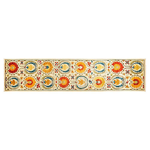 """2'2""""x12'2"""" Enyo Hand-Knotted Runner, Ivory/Multi"""
