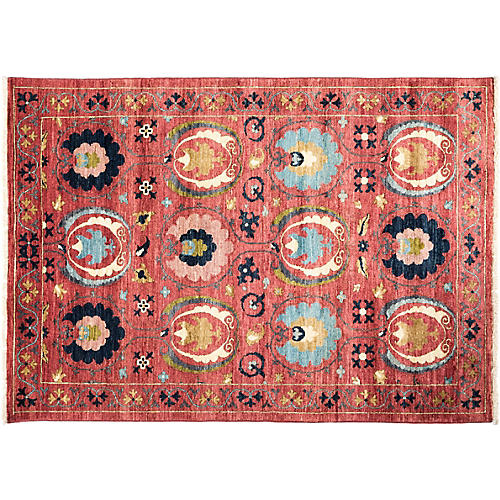 "4'3""x5'10"" Cataleya Suzani Rug, Red"