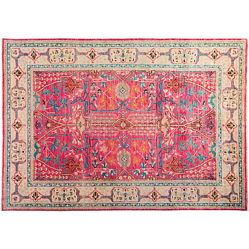 """6'4""""x8'10"""" Milani Eclectic Rug, Pink"""