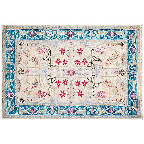"""3'4""""x4'10"""" Esme Eclectic Rug, Ivory"""