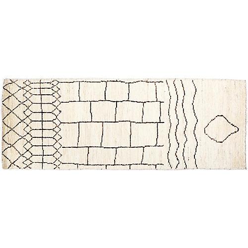 "2'1""x5'9"" Kenzie Moroccan Rug, Ivory"