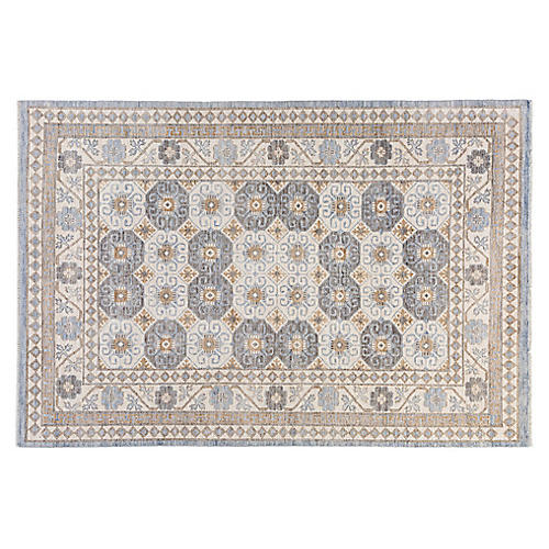 """6'10""""x8'10"""" Muriel Hand-Knotted Rug, Cream/Multi"""