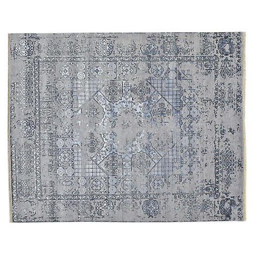8'x10' Govad Hand-Knotted Rug, Light Gray