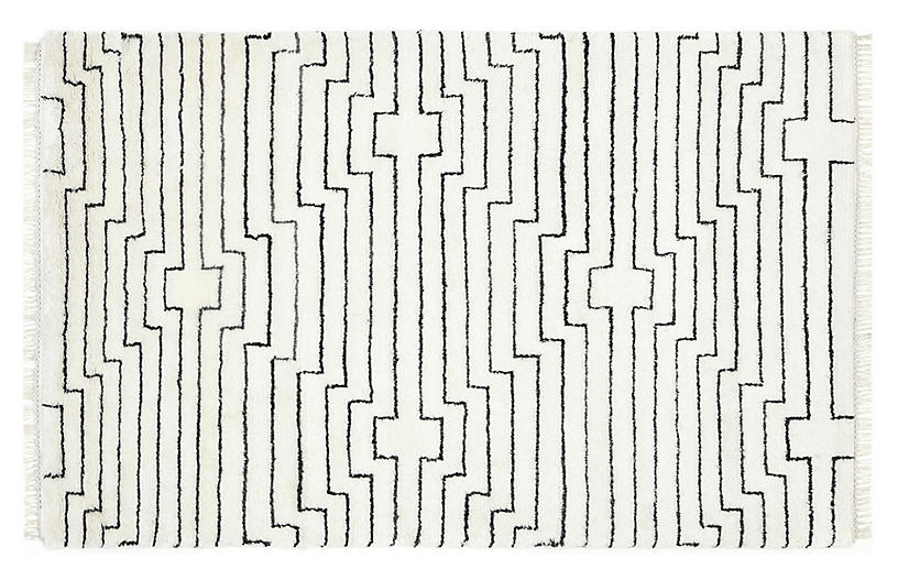 Amina Moroccan Hand-Knotted Rug, Ivory