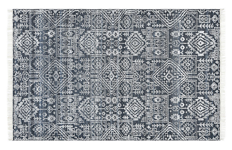 Brittany Contemporary Hand-Knotted Rug, Navy