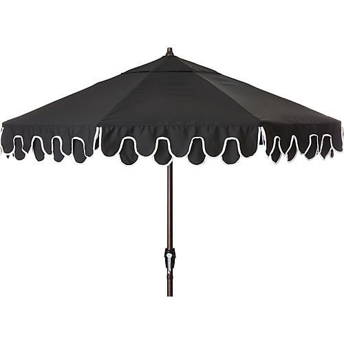 Phoebe Double Scallop Patio Umbrella, Black
