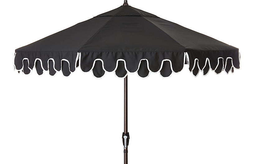 Phoebe Double Scallop Patio Umbrella, Black