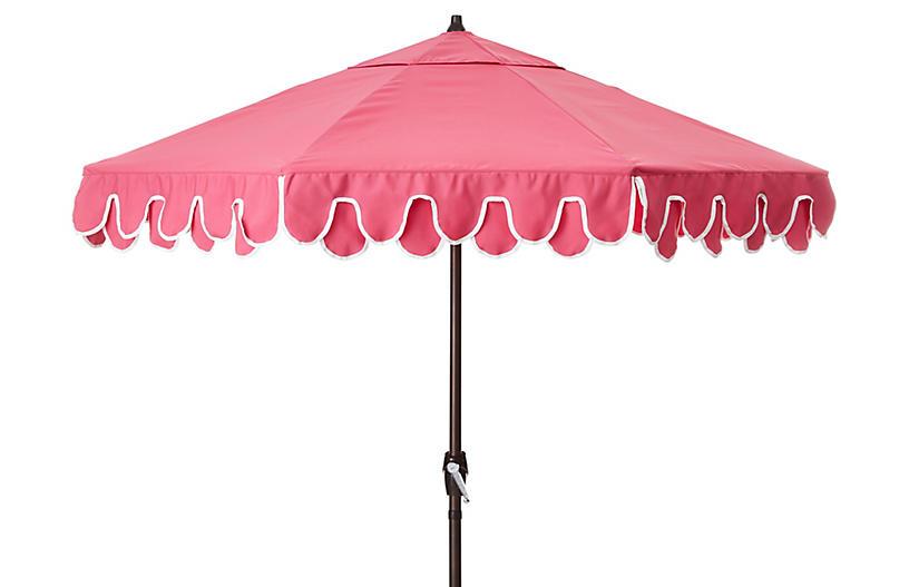 Phoebe Double Scallop Patio Umbrella, Hot Pink