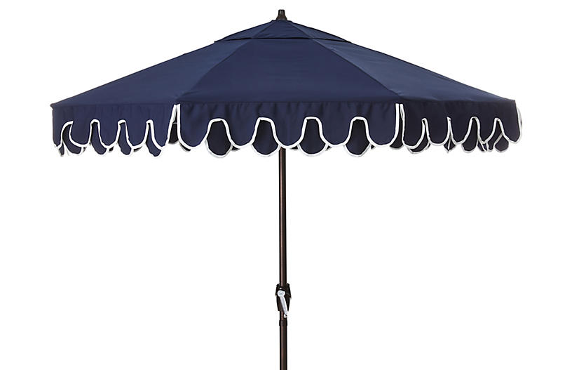 Phoebe Double Scallop Patio Umbrella, Navy