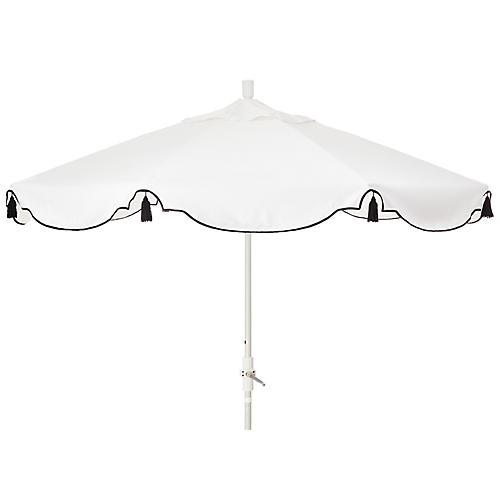 San Marco Patio Umbrella, White/Black Sunbrella