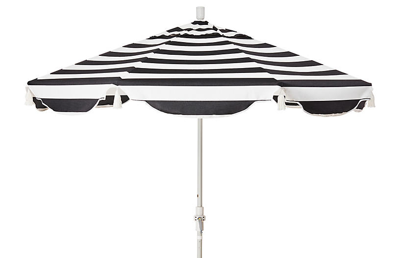 San Marco Patio Umbrella, Black/White Cabana Sunbrella