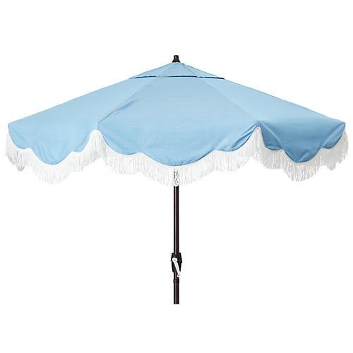 Cloud Fringe Patio Umbrella, Light Blue