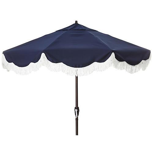Cloud Fringe Patio Umbrella, Navy